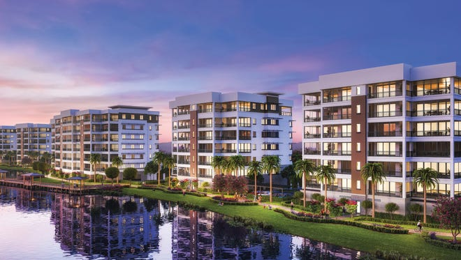 The majority of the luxury mid-rise residences at Moorings Park Grande Lake offer views of a lake and the golf course beyond.