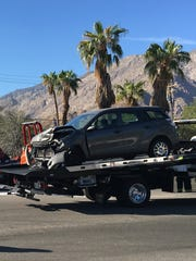 A Toyota Matrix was destroyed in a collision that blocked Vista Chino in Palm Springs Monday.