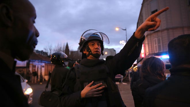 Police mobilize at the hostage situation at Port de Vincennes on January 9 in Paris, France.