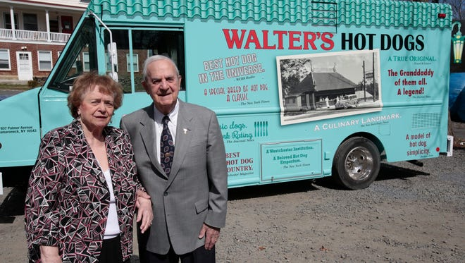 Gloria and Gene Warrington owners of Walter's Hot Dogs in Mamaroneck, stand near their new hot dog truck which took the famous hot dog on the road on April 15, 2015.