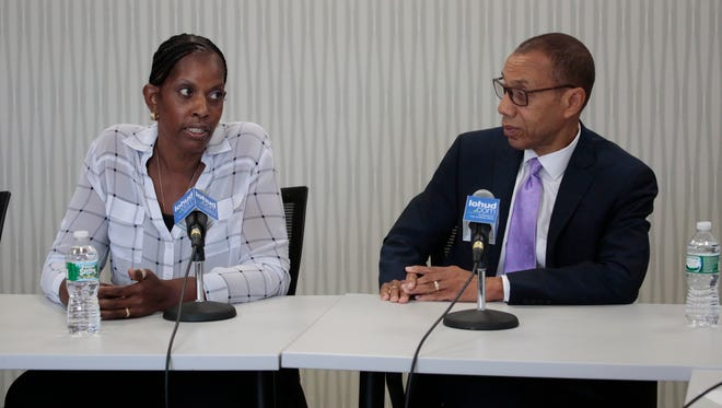 Monica George-Fields and Dennis Walcott, members of the East Ramapo School district monitor team, meet with the Editorial Board on Sept. 1, 2015.