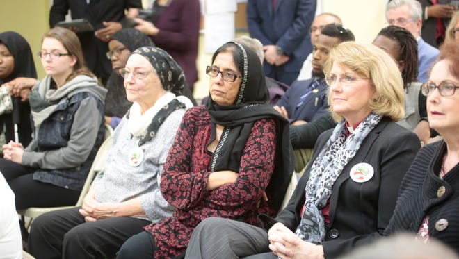 Members of the Rockland Clergy for Social Justice holds a press conference at the Islamic Center of Rockland in Valley Cottage on Dec. 14, 2015.