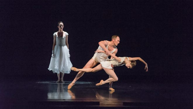 """The title piece of Cincinnati Ballet's March 18-19 performances at the Aronoff Center is the company premiere of """"Wild Sweet Love,"""" choreographed by Trey McIntyre. Seen here is a scene from a performance of the work by Sacramento Ballet, featuring (from left) Ava Chatterson, Stefan Calka and former Cincinnati Ballet dancer Lauryn Winterhalder. Also on Cincinnati Ballet's program are George Balanchine's """"Who Cares?"""" and Edwaard Liang's """"Age of Innocence,"""" performed by BalletMet Columbus."""