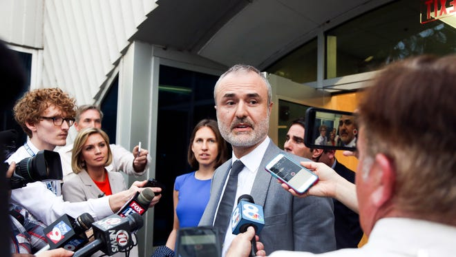 Gawker founder Nick Denton speaks to the media on Friday, March 18, 2016, in St. Petersburg, Fla. Hulk Hogan, whose given name is Terry Bollea was awarded $115 million in damages in his lawsuit against the gossip website Gawker on Friday.  (Eve Edelheit/The Tampa Bay Times via AP)