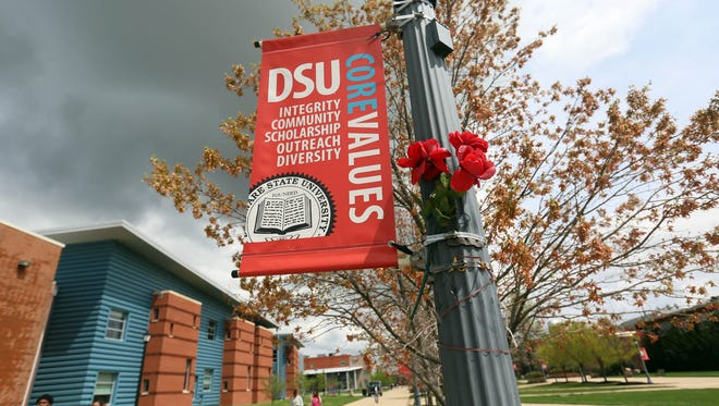 Students make their way across campus at Delaware State University.