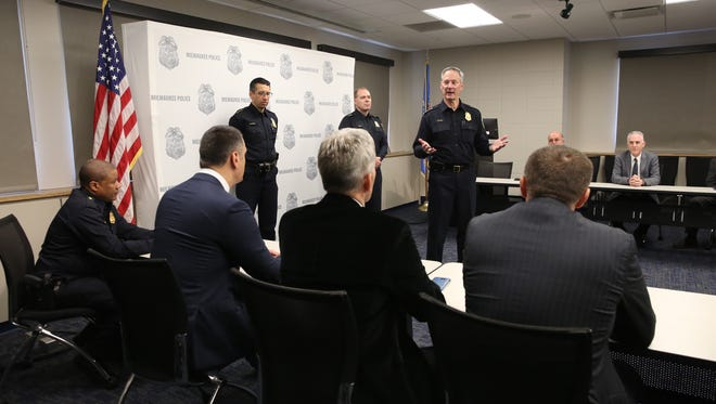 Milwaukee Police Chief Edward Flynn speaks to a group of visiting law enforcement officials from Montenegro on Nov. 4, 2016.