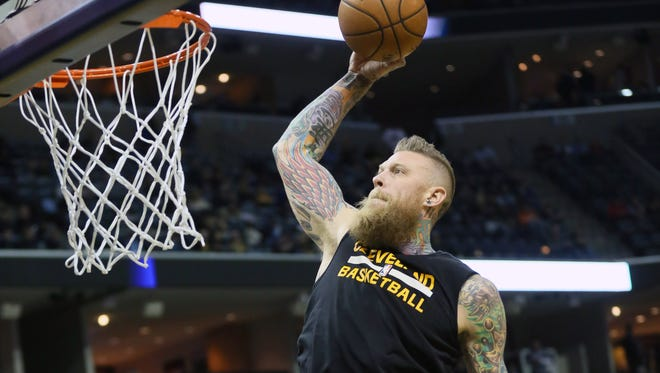 Cleveland Cavaliers center Chris Andersen warms prior to the game against the Memphis Grizzlies at FedExForum.