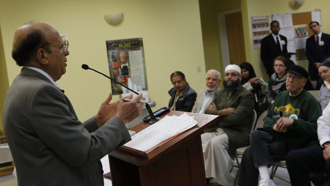 Azeem Farooki, trustee of the Islamic Center of Rockland, at a press conference by the Rockland Clergy for Social Justice at the Center in Valley Cottage on Dec. 14, 2015.