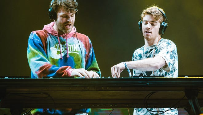 Alex Pall and Andrew Taggart members of The Chainsmokers crashed a prom before their concert Saturday.