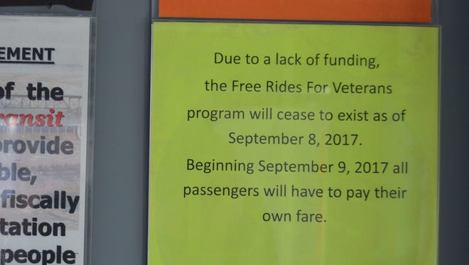 The Great Falls Transit District ended their donation-funded veterans ride program in September after donations dwindled.