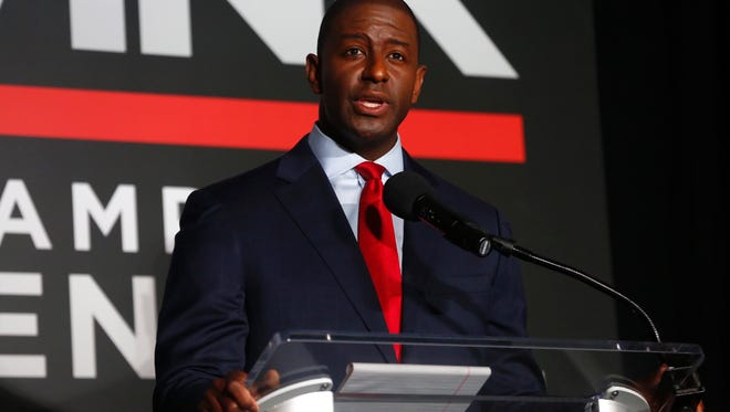 Andrew Gillum answers a question at the Democratic gubernatorial primary debate, held at Florida Gulf Coast UniversityÕs Cohen Center in Fort Myers, Florida on Wednesday, July 18, 2018. Moderated by WINK News anchorÕs Chris Cifatte and Lois Thome, this is theÊfirst time the Florida Democratic Party has hosted a debate of this size for statewide candidates in Southwest Florida. This debate also marks the first time that all five Democratic gubernatorial candidates are together on stage in a formal setting.