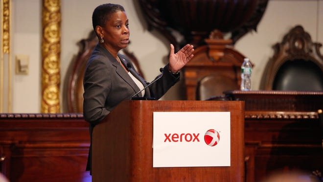 Xerox Corp. CEO Ursula Burns addresses investors at the company's annual conference in New York City on Tuesday.
