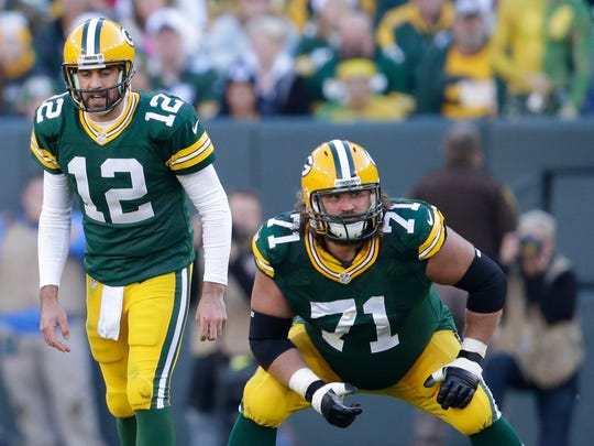 Green Bay Packers left guard Josh Sitton blocks for quarterback Aaron Rodgers.   The Green Bay Packers host the Detroit Lions Sunday, November 15, 2015, at Lambeau Field in Green Bay, Wis.  Dan Powers/P-C Media