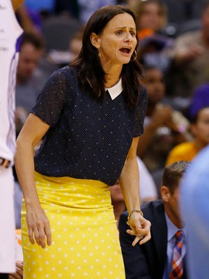 Phoenix Mercury Head Coach Sandy Brondello against the Chicago Sky during the first half of  their WNBA game  Wednesday, July 2,, 2014 in Phoenix, Ariz.