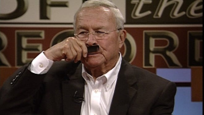 """Frame grab of Oakland County Executive L. Brooks Patterson during a 2013 appearance on public television's """"Off the Record,"""" where he called Speaker of the House Jase Bolger """"Adolf Bolger."""""""