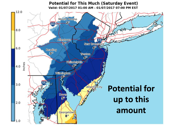 Potential snowfall for Saturday from 1 a.m. to 7 p.m.