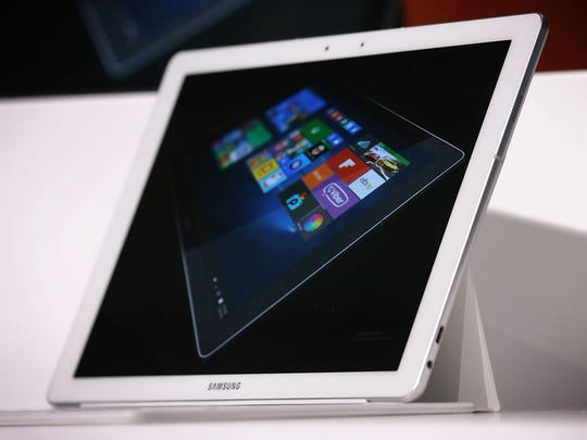 The Samsung Galaxy TabPro S taplet is on display during