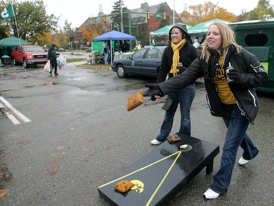 University of Iowa juniors Samantha Hovey, left, and