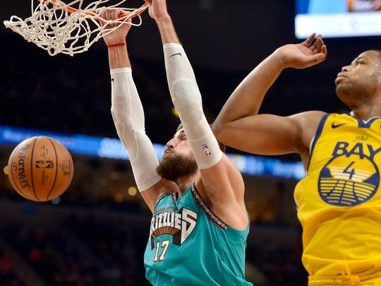 Memphis Grizzlies center Jonas Valanciunas (17) dunks ahead of Golden State Warriors forward Omari Spellman (4) in the second half of an NBA basketball game Sunday, Jan. 12, 2020, in Memphis, Tenn. (AP Photo/Brandon Dill)