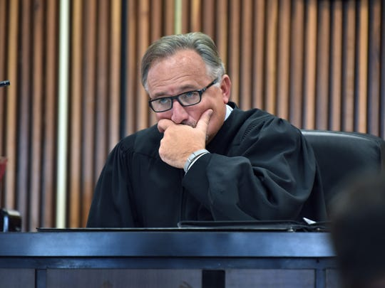 Judge Shayne Sexton listens to testimony before sentencing Kevin Lee Waggoner on Friday, Dec. 2, 2016. Waggoner was sentenced to 18 years in prison for the second-degree murder of Michael Woodby, .  (J. Miles Cary/Special to the News Sentinel)