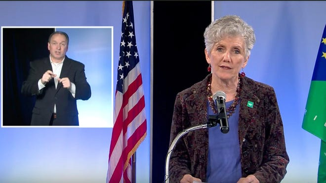Erie County Executive Kathy Dahlkemper is shown in a screen shot from the video feed of a March news conference about COVID-19.