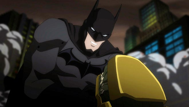 """Batman (voiced by Jason O'Mara) tackles one of Darkseid's Parademons in the animated movie """"Justice League: War."""""""