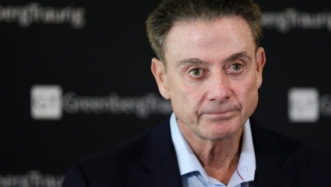 Rick Pitino speaks at a press conference in February 2018.