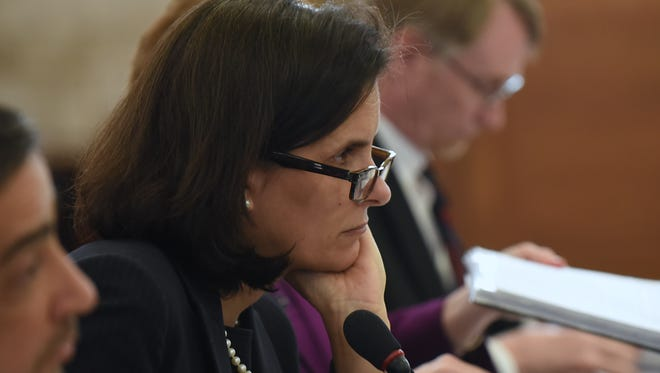 State Treasurer Elizabeth Maher Muoio updates lawmakers on New Jersey's revenue numbers and outlook during the budget report on Tuesday, April 10, 2018.