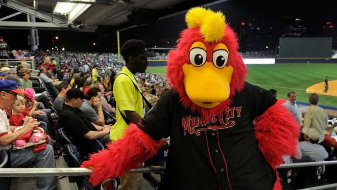 Booster, the Nashville Sounds new mascot, looks on during the first game at First Tennessee Park on April 17, 2015.
