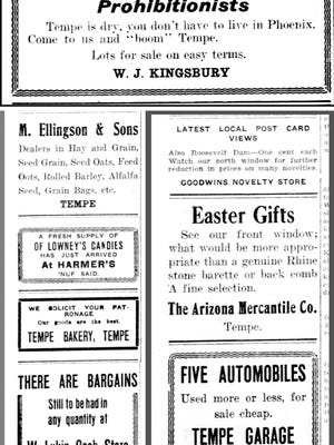 Old newspaper ads provide a wealth of information about everyday life. These ads, from a variety of Tempe businesses, appeared in a 1911 edition of the Arizona Republican.