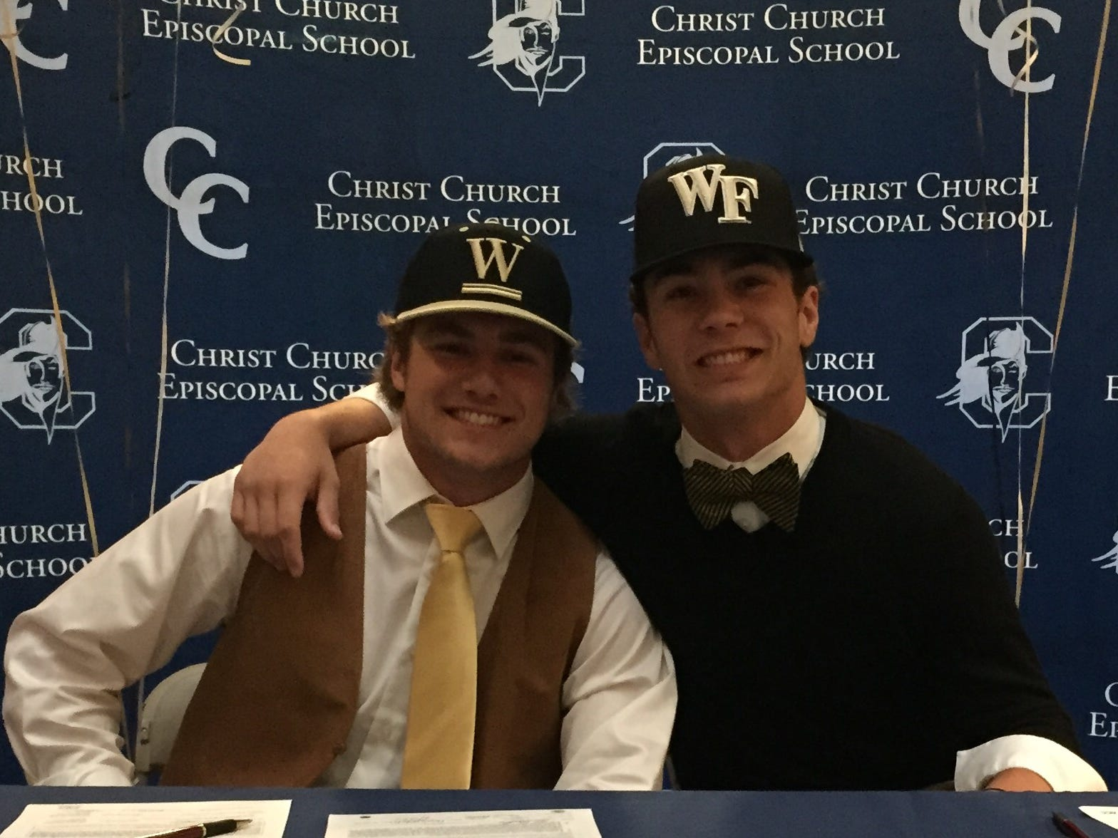 Christ Church seniors Cole Bradley, left, and Jack Schofield signed National Letters of Intent to play baseball, Bradley with Wofford College and Schofield with Wake Forest University.