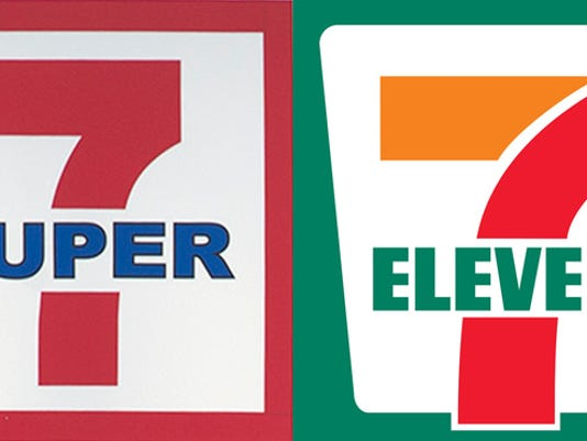 The logo of the Super 7 store in York New Salem, left, and 7-Eleven store chain, right.