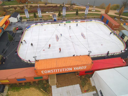 An aerial view of skaters gliding across the ice at the Riverfront Rink in Wilmington last month.