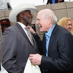Former NFL player Mel Blount (left) and honoree Terry Bradshaw attend the Friars Club Roast of Terry Bradshaw during the ESPN Super Bowl Roast at the Arizona Biltmore on January 29, 2015 in Phoenix, Arizona.