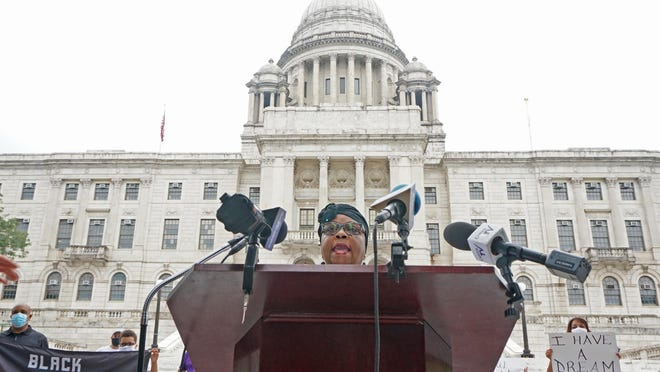 PROVIDENCE, RI  9/3/20  Rep. Anastasia Williams holds a rally at the State House calling for Gov. Raimondo to appoint judges of color.