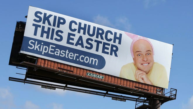 """The billboard says, """"Skip Church This Easter, SkipEaster.com"""" on the west side of I-275 north near 5 Mile Road in Livonia on Friday, March 23, 2018."""