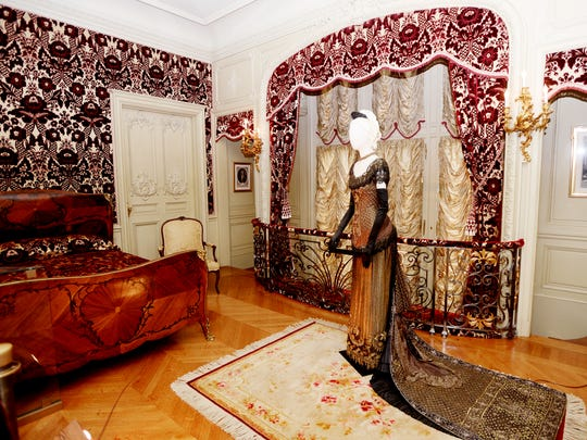 """A costume worn by Nicole Kidman in """"The Portrait of a Lady"""" on display in the Louis 15th Room for the Designed for Drama: Fashion from the Classics exhibit."""