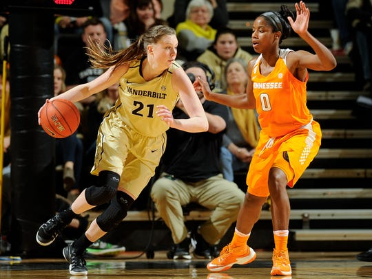 Vanderbilt's Erin Whalen (21) moves against Tennessee's