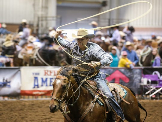 Tristin Clapton rides during the 64th annual Roping