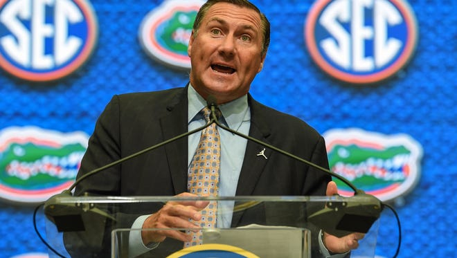 Florida Gators head coach Dan Mullen addresses the media during SEC football media day at the College Football Hall of Fame. Mandatory Credit: Dale Zanine-USA TODAY Sports