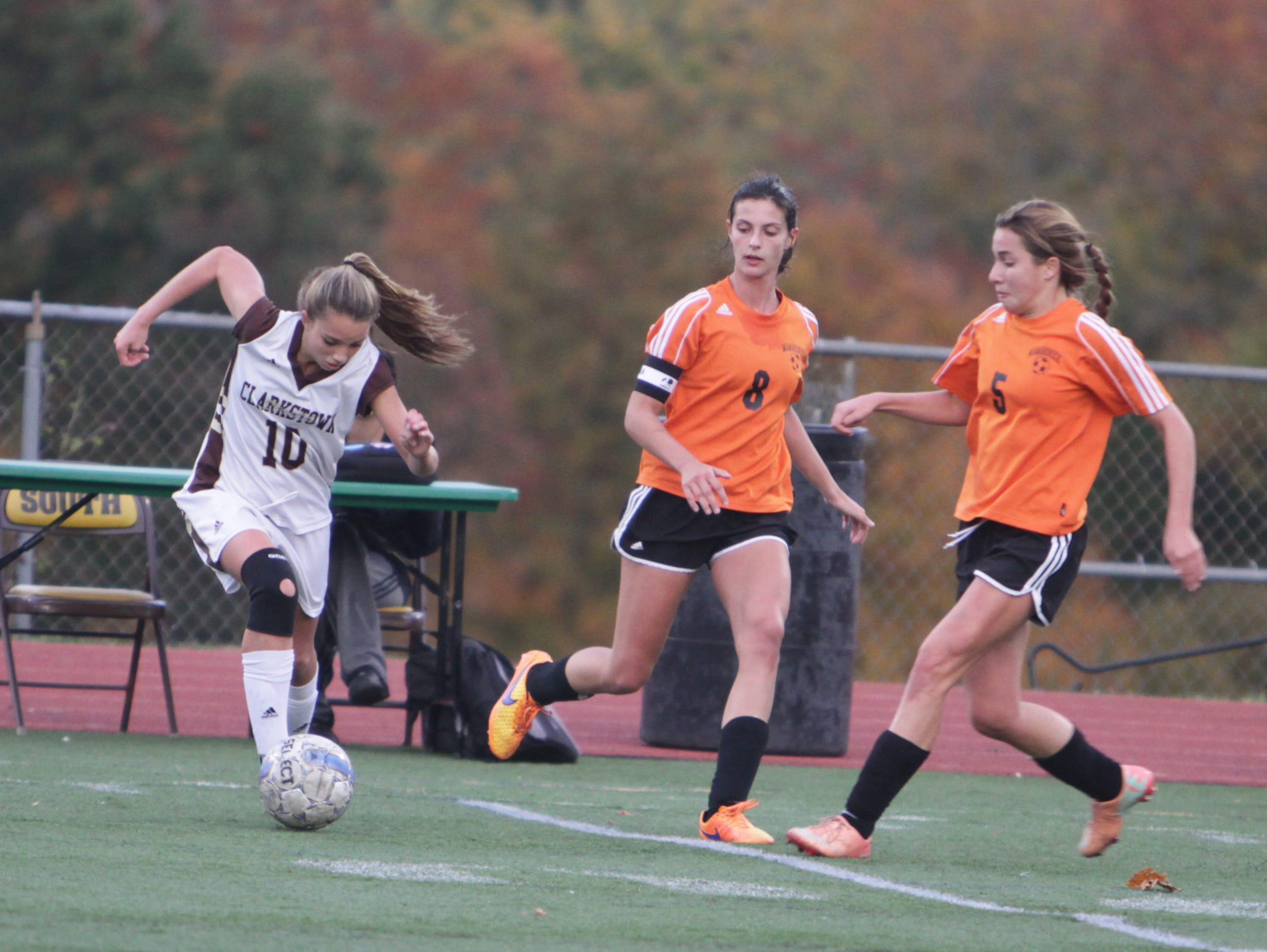 Clarkstown South defeated Mamaroneck 1-0 in overtime in a Section 1, Class AA quarterfinal game at Clarkstown South High School on Tuesday, October 27th, 2015.