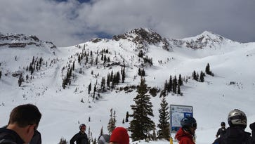 Mineral Basin, a back bowl at Snowbird, on a clearer day.