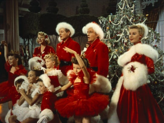 "The song ""White Christmas"" was so popular, it inspired a film. Rosemary Clooney (from left), Danny Kaye, Bing Crosby and Vera-Ellen star in the 1954 yuletide tale."