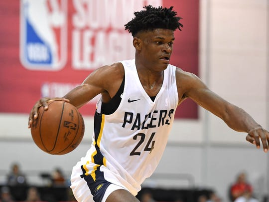 Jul 13, 2018; Las Vegas, NV, USA; Indiana Pacers forward Alize Johnson (24) dribbles during the second half against the Brooklyn Nets at Cox Pavilion.  Mandatory Credit: Stephen R. Sylvanie-USA TODAY Sports