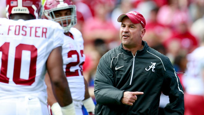 Alabama Crimson Tide defensive coordinator Jeremy Pruitt during the annual A-day game at Bryant-Denny Stadium on Apr 16, 2016.
