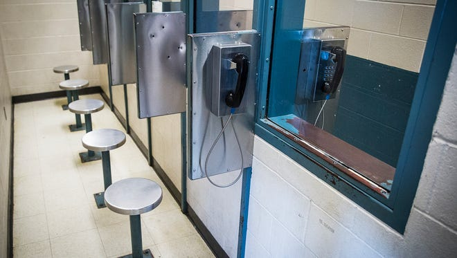 The visitation room of the Delaware County Jail Thursday afternoon.
