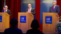 """""""Ha!"""" This was a deep-throated staccato mono-syllable projected from the diaphragm of Lt. Gov. Eric Holcomb at Tuesday's debate at the University of Southern Indiana."""