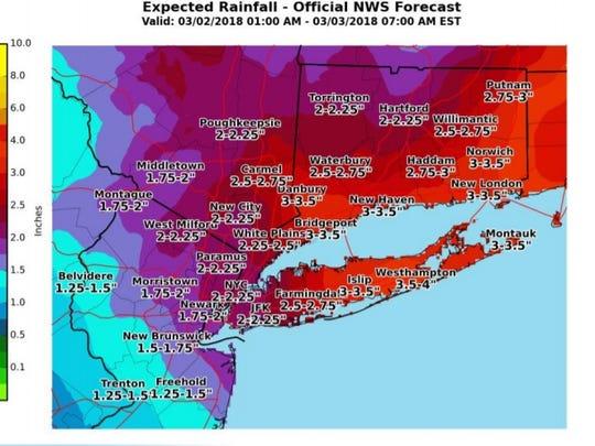 Estimated rainfall totals.