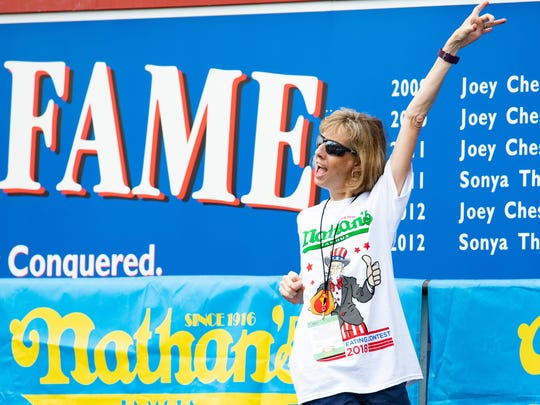 Rene Rovtar of Basking Ridge competed at the July 4, 2018, hot dog eating competition at Nathan's Famous in Coney Island.