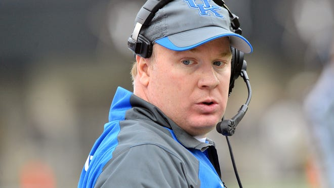 Nov 16, 2013; Nashville, TN, USA; Kentucky Wildcats head coach Mark Stoops during the first half against the Vanderbilt Commodores at Vanderbilt Stadium. Mandatory Credit: Jim Brown-USA TODAY Sports